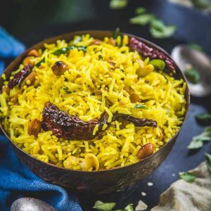 lemon rice with spice curd